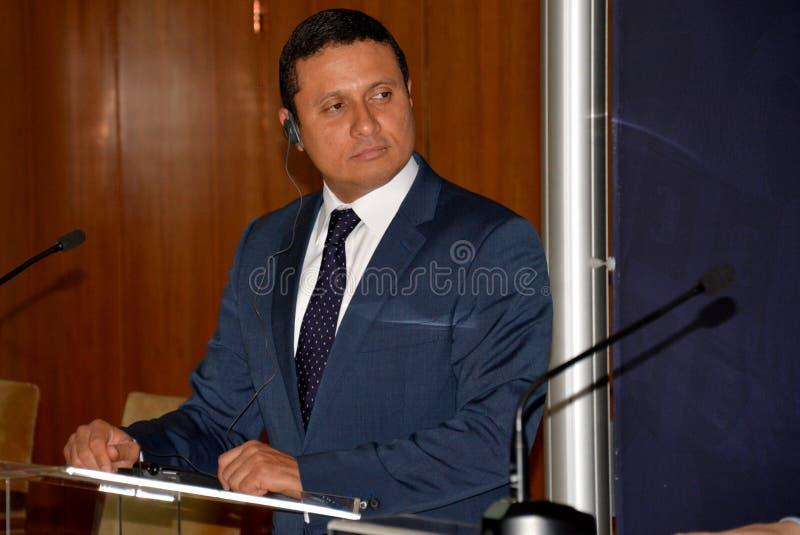 Τα της Γουατεμάλας ξένα ηθικά του Carlos Raul Υπουργών στη επίσημη επίσκεψη στη Σερβία δίνουν μια δήλωση Τύπου στοκ φωτογραφίες