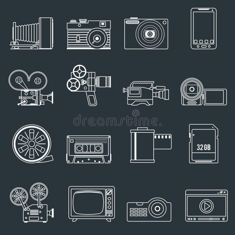 Τα τηλεοπτικά εικονίδια φωτογραφιών καθορισμένα την περίληψη απεικόνιση αποθεμάτων