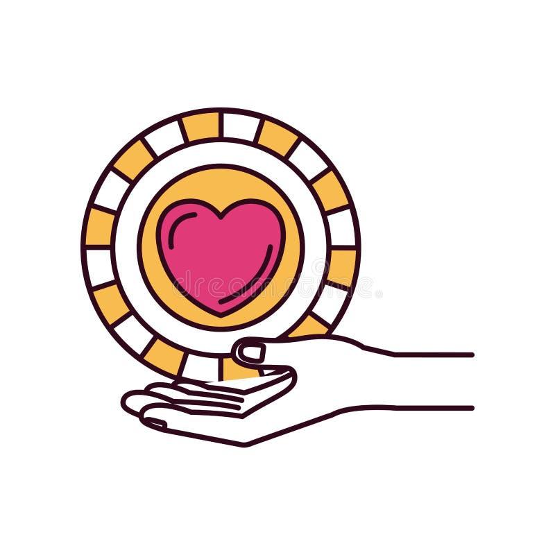 Τα τμήματα χρώματος σκιαγραφιών δίνουν το φοίνικα που δίνει ένα νόμισμα με τη μορφή καρδιών μέσα στο σύμβολο φιλανθρωπίας διανυσματική απεικόνιση