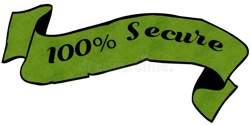100 τα ΤΟΙΣ ΕΚΑΤΟ ΕΞΑΣΦΑΛΙΖΟΥΝ την πράσινη κορδέλλα διανυσματική απεικόνιση