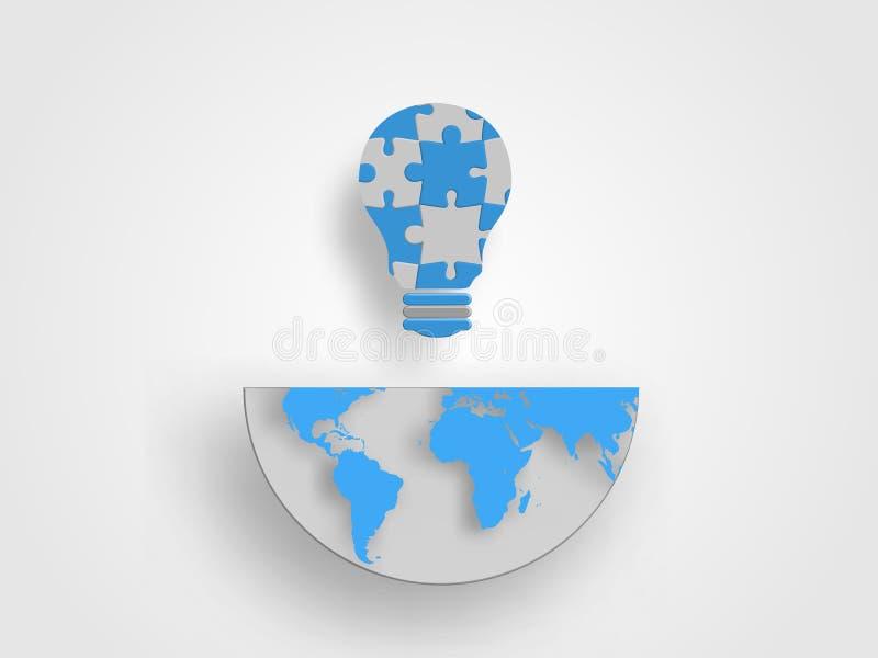 Τα τορνευτικά πριόνια στη μορφή lightbulb είναι στο μισό του γήινου χάρτη αντιπροσωπεύουν την έννοια της καινοτομίας και της ιδέα στοκ εικόνες