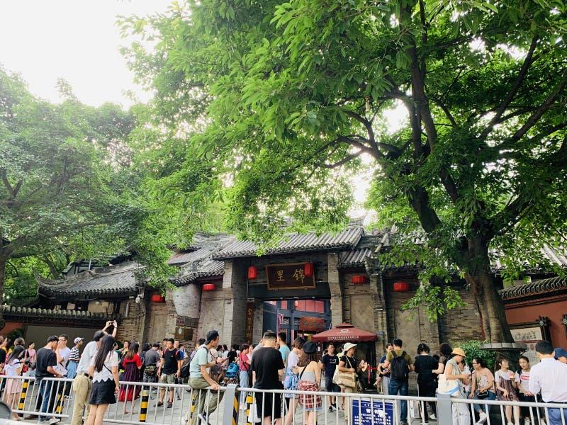 Τα τουριστικά αξιοθέατα, Chengdu Jinli, πολλοί τουρίστες έρχονται εδώ να παίξουν στοκ εικόνα