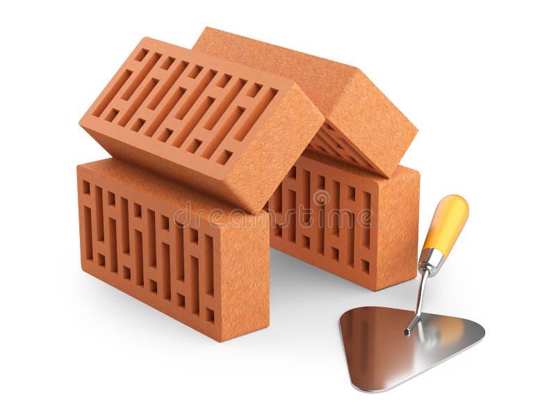 Τα τούβλα τακτοποιούνται με μορφή του σπιτιού και trowel Bu απεικόνιση αποθεμάτων