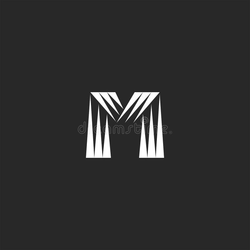 Τα τρίγωνα λογότυπων γραμμάτων Μ μονογραμμάτων διαμορφώνουν το ριγωτό μινιμαλιστικό έμβλημα ταυτότητας ύφους απλό απεικόνιση αποθεμάτων