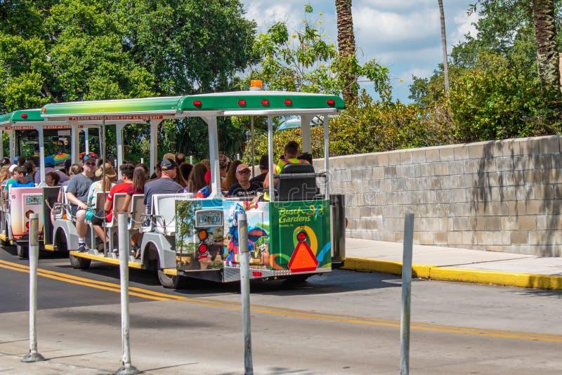 Τα τραμ που χρησιμοποιούνται για να μεταφέρουν τους επισκέπτες μεταξύ του χώρου στάθμευσης και της εισόδου σε Busch καλλιεργούν στοκ εικόνες
