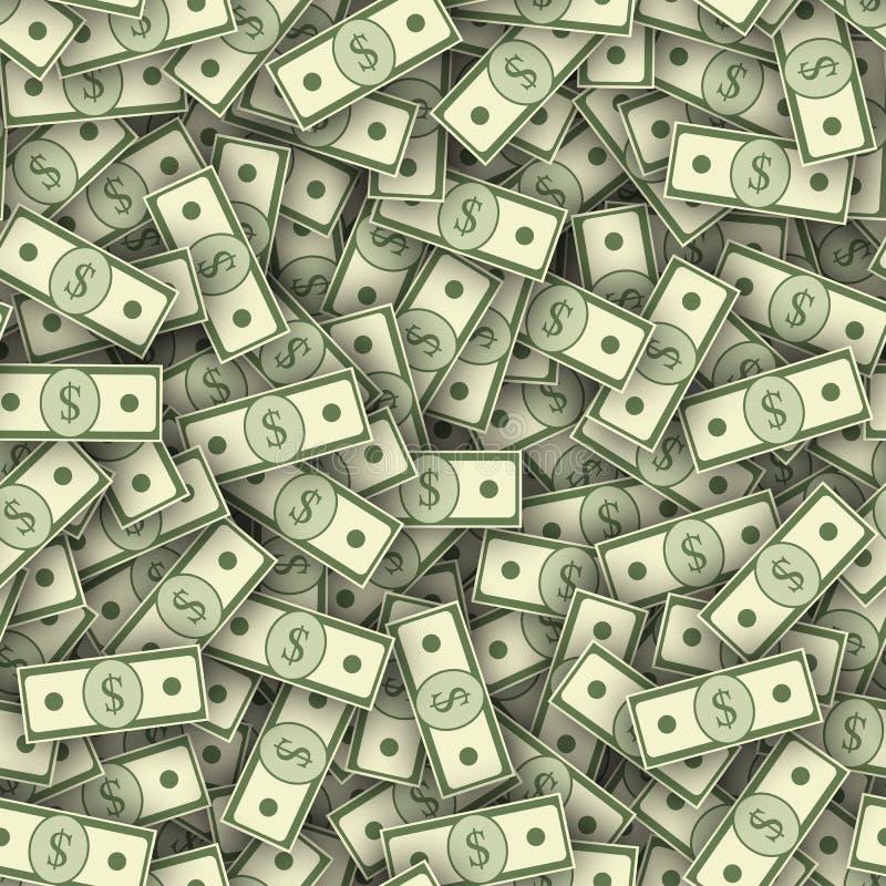 Τα τραπεζογραμμάτια δολαρίων συσσωρεύουν την άνευ ραφής σύσταση ελεύθερη απεικόνιση δικαιώματος