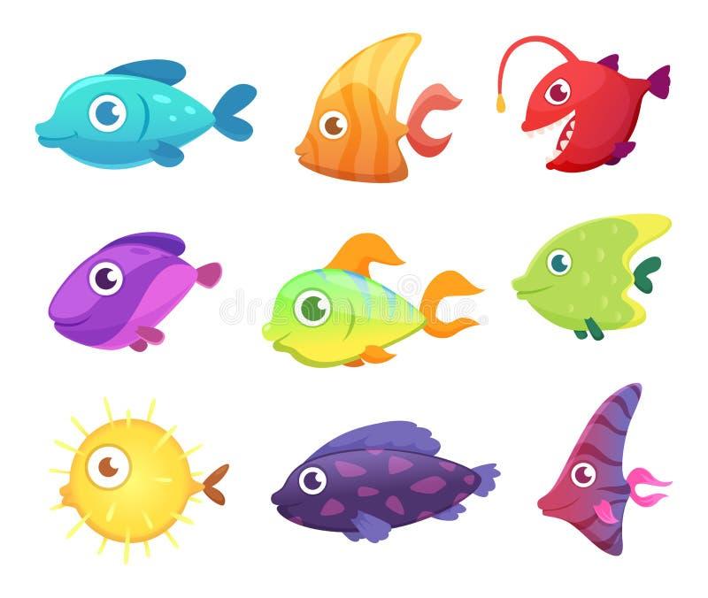 τα τρισδιάστατα ψάρια έννοιας κινούμενων σχεδίων τέχνης δίνουν Υποβρύχια ωκεάνια ζώα θάλασσας για τις διανυσματικές εικόνες παιχν ελεύθερη απεικόνιση δικαιώματος