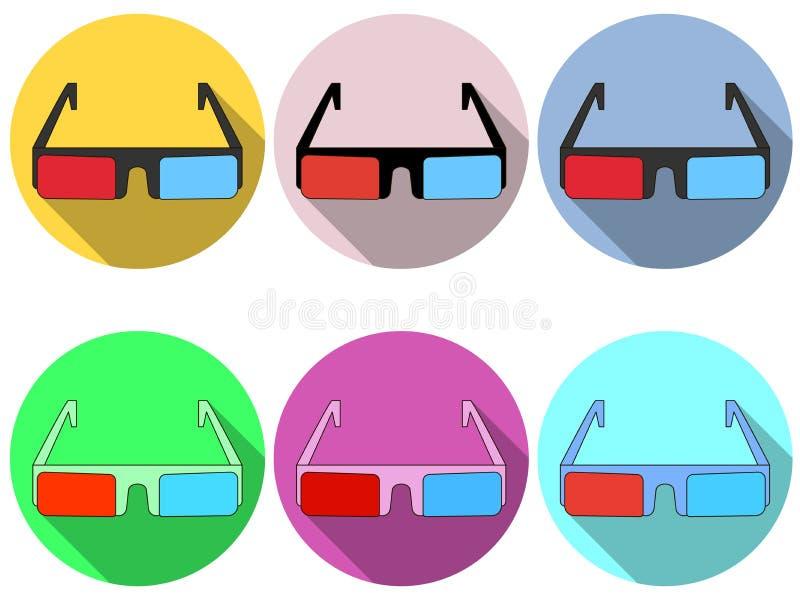 τα τρισδιάστατα γυαλιά είναι επίπεδα με μια μακριά σκιά Σύγχρονο σχέδιο των γυαλιών Κόκκινοι και μπλε φακοί εικονίδια που τίθεντα απεικόνιση αποθεμάτων