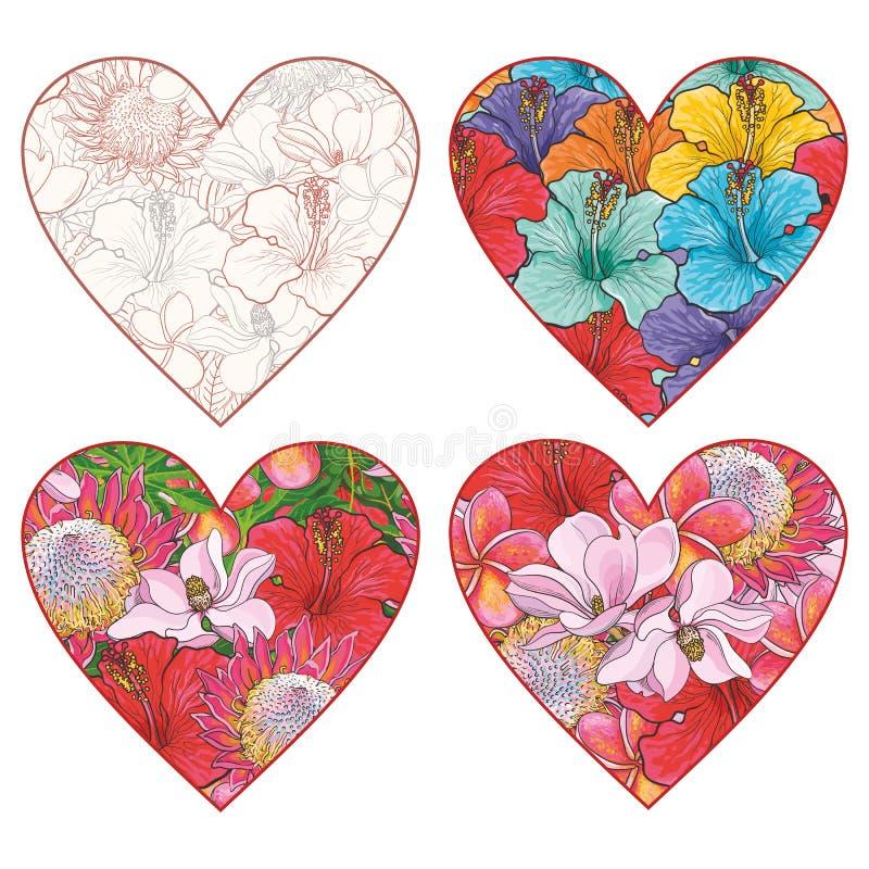 Τα τροπικά λουλούδια με μορφή διανύσματος καρδιών θέτουν στο ύφος σκίτσων που απομονώνεται στο άσπρο υπόβαθρο ελεύθερη απεικόνιση δικαιώματος
