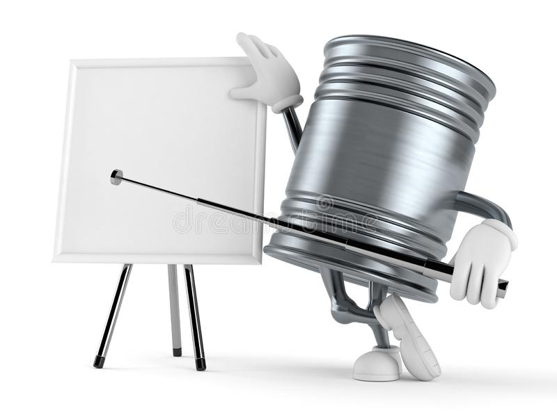 Τα τρόφιμα μπορούν χαρακτήρας με το κενό whiteboard απεικόνιση αποθεμάτων