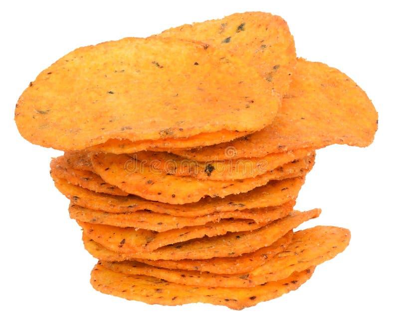 Τα τσιπ πατατών σωρών κλείνουν επάνω στοκ εικόνες με δικαίωμα ελεύθερης χρήσης