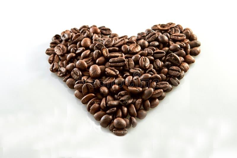 Τα φασόλια καφέ στην καρδιά διαμορφώνουν το άσπρο υπόβαθρο στοκ εικόνα