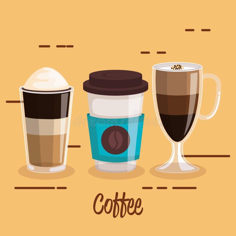 Τα φλυτζάνια καφέ καθορισμένα differents το ποτό τύπων διανυσματική απεικόνιση