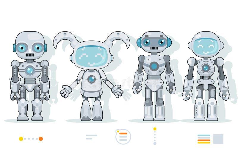 Τα φουτουριστικά αρρενωπά ρομπότ χαρακτήρων τεχνητής νοημοσύνης πληροφοριών εικονίδια σχεδίου διεπαφών επίπεδα θέτουν διανυσματικ διανυσματική απεικόνιση