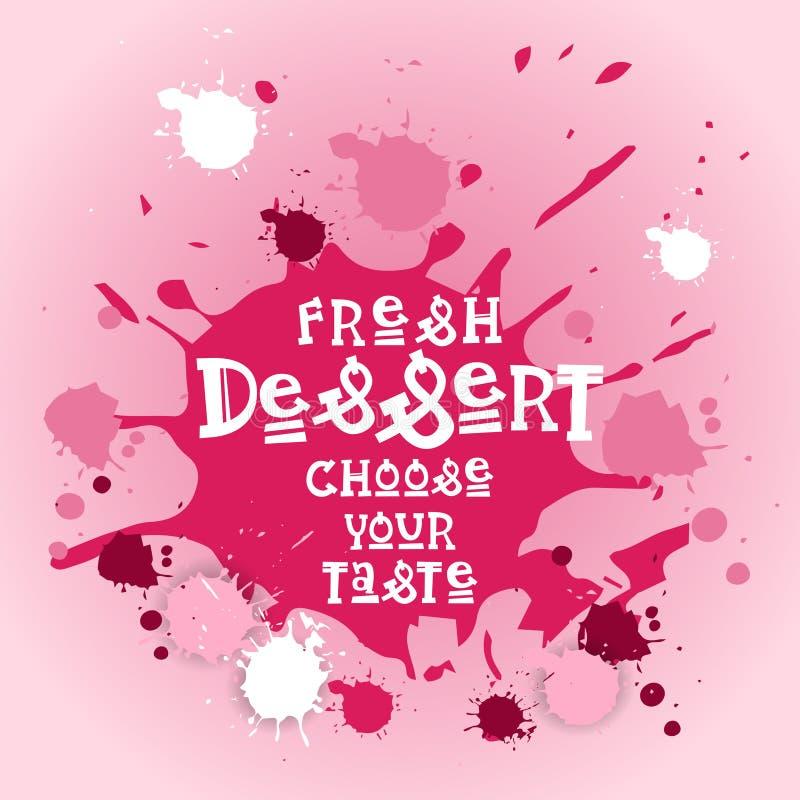 Τα φρέσκα επιδόρπια επιλέγουν ζωηρόχρωμο γλυκό όμορφο εύγευστο λογότυπων καφέδων εμβλημάτων γούστου σας ελεύθερη απεικόνιση δικαιώματος