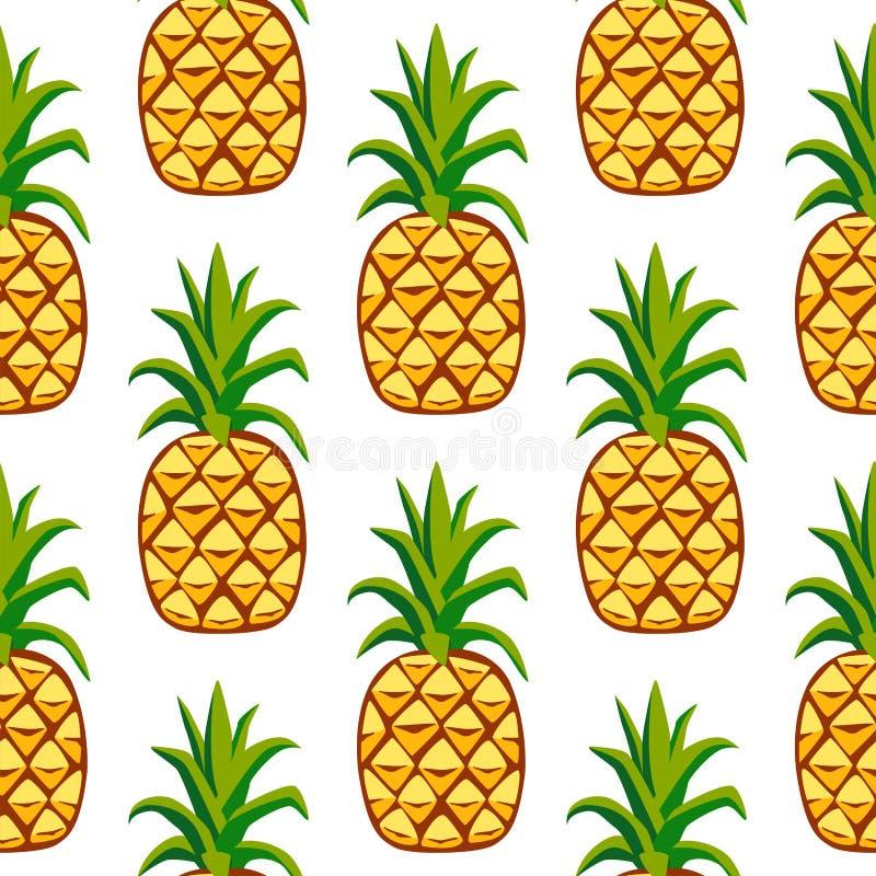Τα φρέσκα φρούτα ανανά κινούμενων σχεδίων το επίπεδο καλοκαίρι τροφίμων σχεδίων ύφους άνευ ραφής σχεδιάζουν τη διανυσματική απεικ ελεύθερη απεικόνιση δικαιώματος