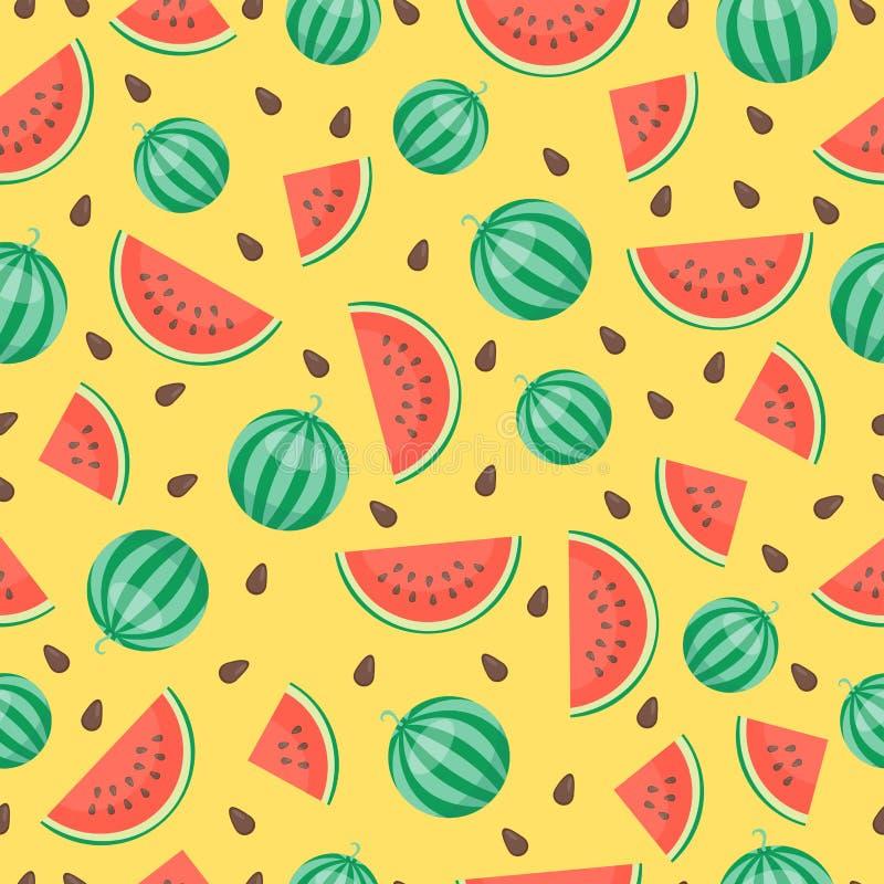 Τα φρέσκα φρούτα καρπουζιών κινούμενων σχεδίων το επίπεδο καλοκαίρι τροφίμων σχεδίων ύφους άνευ ραφής σχεδιάζουν τη διανυσματική  απεικόνιση αποθεμάτων