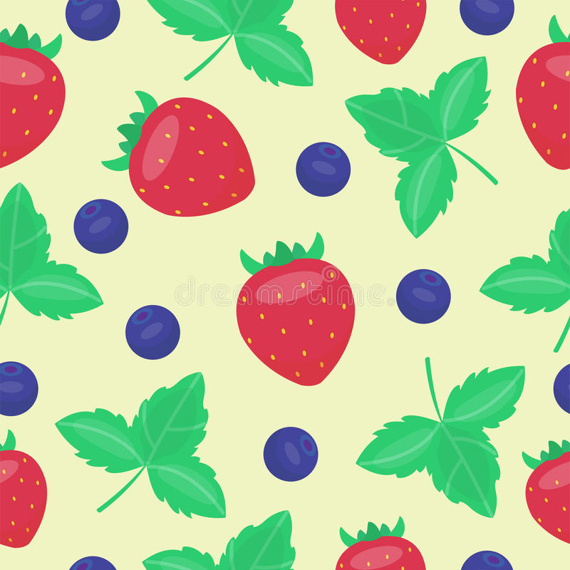 Τα φρέσκα φρούτα φραουλών κινούμενων σχεδίων το επίπεδο καλοκαίρι τροφίμων σχεδίων ύφους άνευ ραφής σχεδιάζουν τη διανυσματική απ διανυσματική απεικόνιση