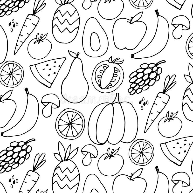τα φρούτα λαχανικών δίνουν το συρμένο διανυσματικό σχέδιο ζωηρόχρωμο διανυσματική απεικόνιση