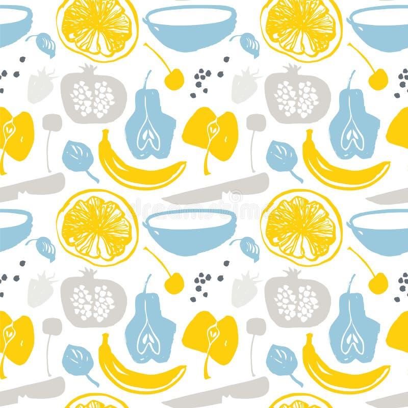 Τα φρούτα σκιαγραφούν το σχέδιο στα μπλε και κίτρινα χρώματα απεικόνιση αποθεμάτων