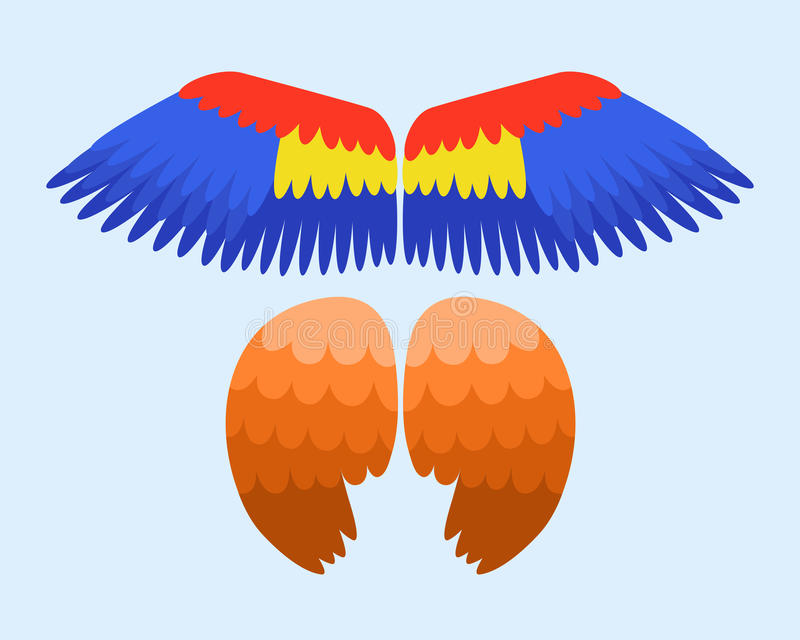 Τα φτερά απομόνωσαν τη ζωική μπλε πτήση ελευθερίας πουλιών γραναζιών φτερών και το φυσικό αετό στοιχείων σχεδίου ειρήνης ζωής γερ διανυσματική απεικόνιση