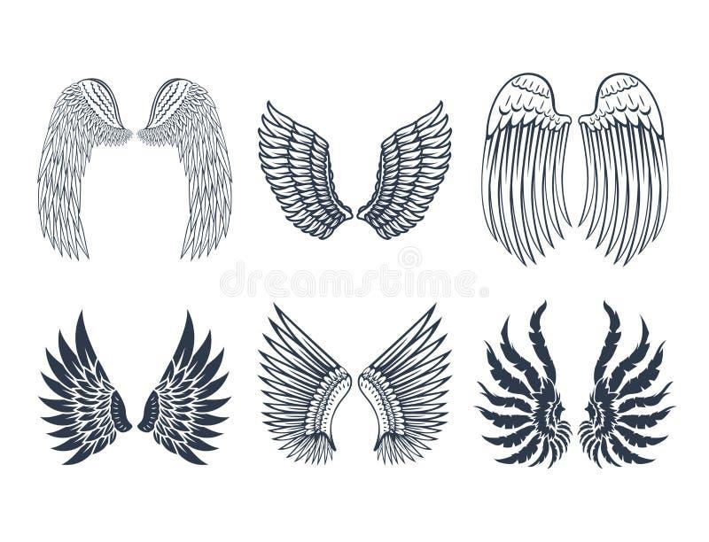 Τα φτερά απομόνωσαν τη ζωική φτερών γραναζιών πουλιών ελευθερίας διανυσματική απεικόνιση σχεδίου ειρήνης πτήσης φυσική διανυσματική απεικόνιση