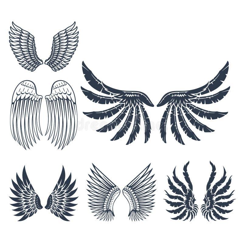 Τα φτερά απομόνωσαν τη ζωική φτερών γραναζιών πουλιών ελευθερίας διανυσματική απεικόνιση σχεδίου ειρήνης πτήσης φυσική ελεύθερη απεικόνιση δικαιώματος