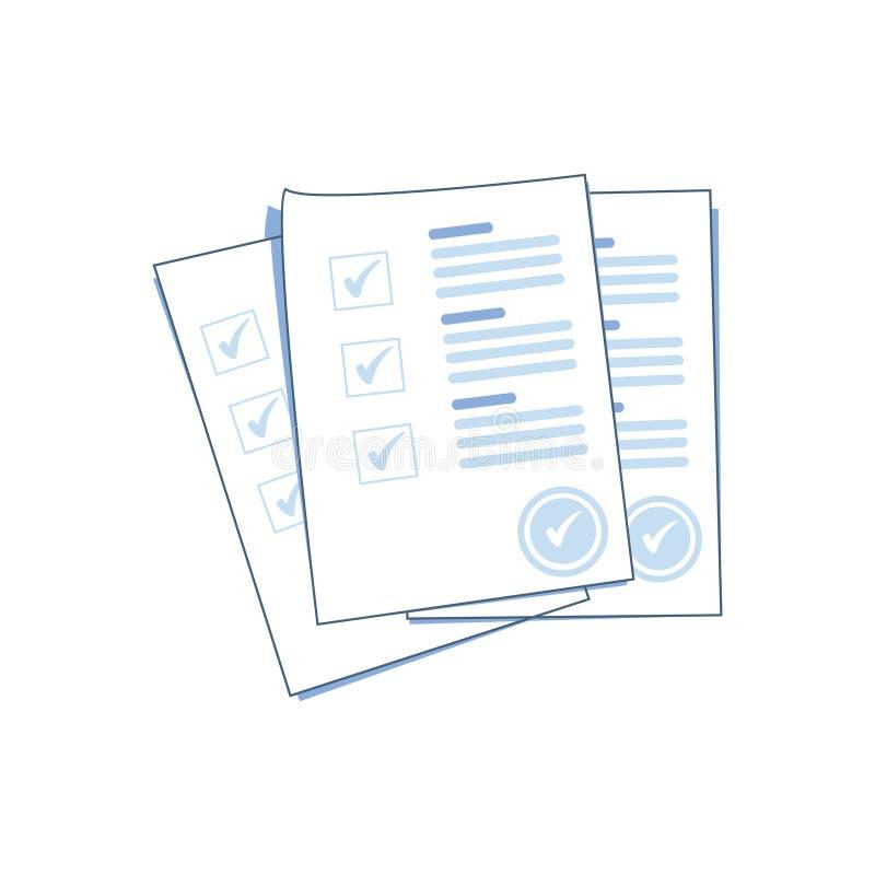 Τα φύλλα εγγράφου μορφής ερευνών ή διαγωνισμών συσσωρεύουν με απαντημένο πίνακα ελέγχου και επιτυχία διαγωνισμοου γνώσεων ελεύθερη απεικόνιση δικαιώματος