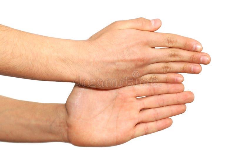 τα χέρια ανασκόπησης απομόνωσαν το λευκό πάνω από δύο στοκ εικόνα