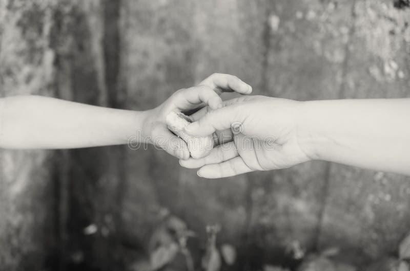 Τα χέρια ενός πεινασμένου αγοριού επαιτών κρατούν και σπάζουν ένα κομμάτι του ψωμιού στοκ εικόνες