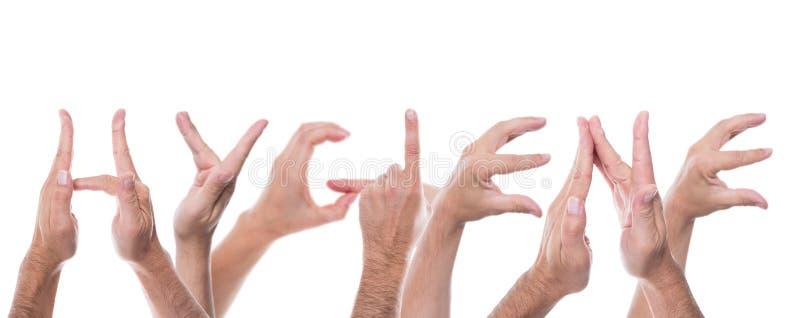 Τα χέρια διαμορφώνουν την υγιεινή λέξης στοκ φωτογραφία με δικαίωμα ελεύθερης χρήσης
