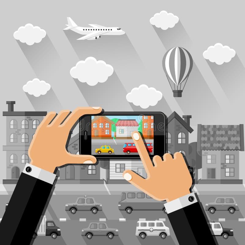 Τα χέρια κάνουν μια εικόνα στην οδό με το smartphone απεικόνιση αποθεμάτων