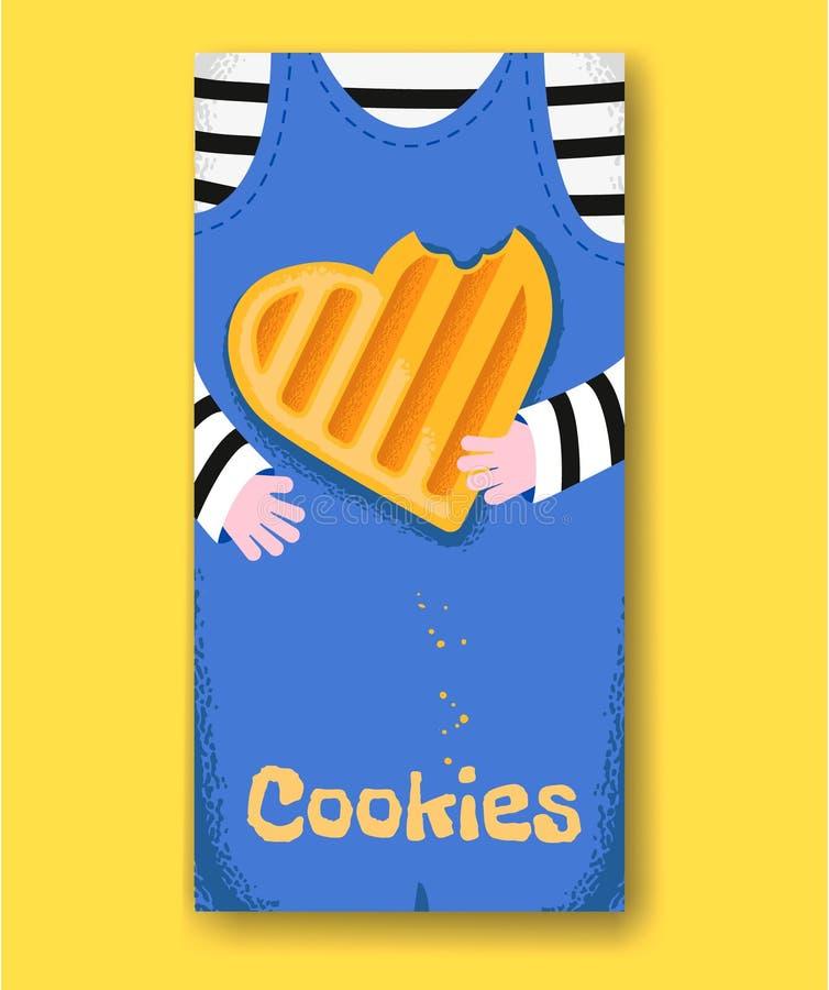 Τα χέρια μωρών κρατούν το δαγκωμένο μπισκότο μορφής καρδιών απεικόνιση αποθεμάτων