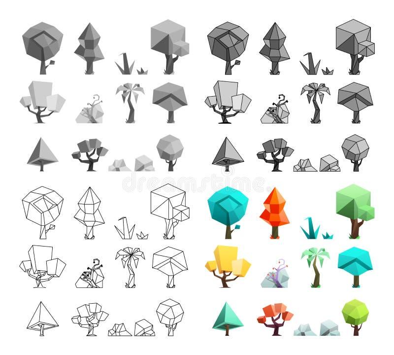 Τα χαμηλά πολυ εικονίδια χλόης βράχων δέντρων θέτουν στην επίπεδη τέχνη γραμμών σχεδίου τη διανυσματική απεικόνιση ελεύθερη απεικόνιση δικαιώματος