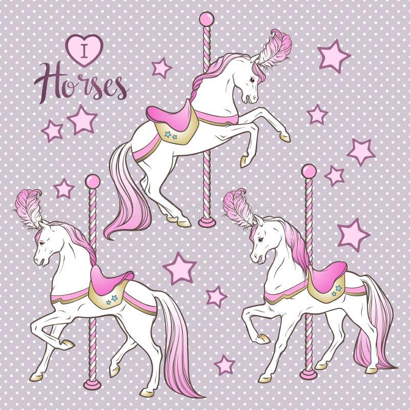 Τα χαριτωμένα άλογα και τα αστέρια ιπποδρομίων καθορισμένα δίνουν το συρμένο σχέδιο για τα παιδιά στη διανυσματική απεικόνιση χρω ελεύθερη απεικόνιση δικαιώματος