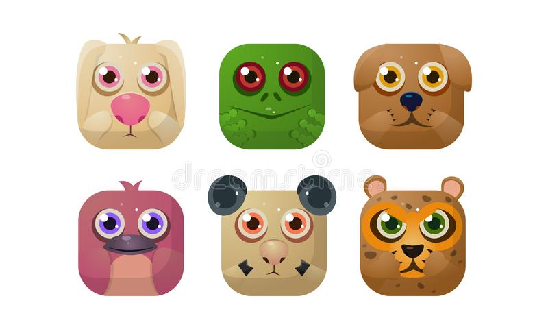 Τα χαριτωμένα ζώα θέτουν, τετραγωνικά app εικονίδια, προτερήματα για GUI, σχέδιο Ιστού, διανυσματική απεικόνιση καταστημάτων εφαρ απεικόνιση αποθεμάτων