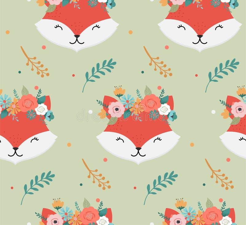 Τα χαριτωμένα κεφάλια αλεπούδων με το λουλούδι στέφουν, διανυσματικό άνευ ραφής σχέδιο σχεδίων για το βρεφικό σταθμό, αφίσα, ευχε ελεύθερη απεικόνιση δικαιώματος