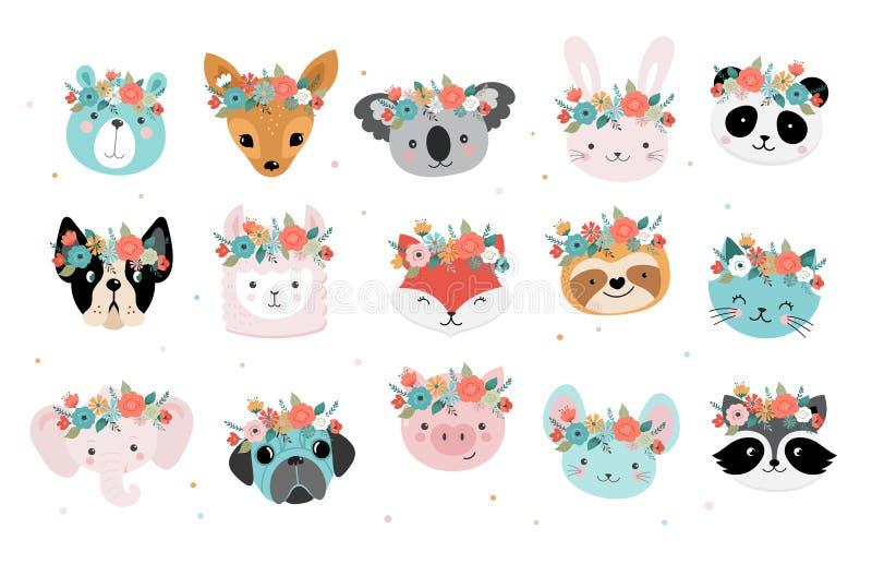 Τα χαριτωμένα κεφάλια αλεπούδων με το λουλούδι στέφουν, διανυσματικό άνευ ραφής σχέδιο σχεδίων για το βρεφικό σταθμό, αφίσα, ευχε απεικόνιση αποθεμάτων