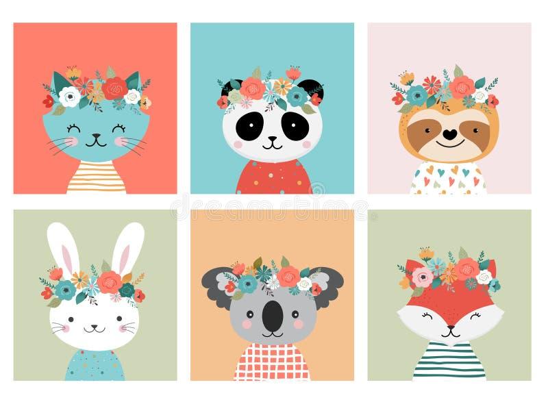 Τα χαριτωμένα κεφάλια ζώων με το λουλούδι στέφουν, διανυσματικές απει διανυσματική απεικόνιση
