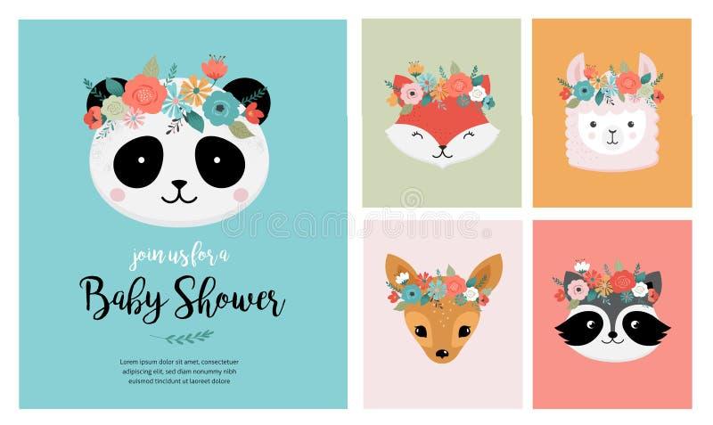 Τα χαριτωμένα κεφάλια ζώων με το λουλούδι στέφουν, διανυσματικές απει απεικόνιση αποθεμάτων