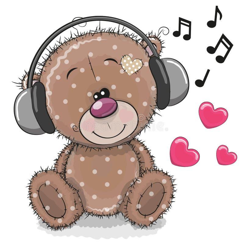 Τα χαριτωμένα κινούμενα σχέδια Teddy αντέχουν με τα ακουστικά απεικόνιση αποθεμάτων