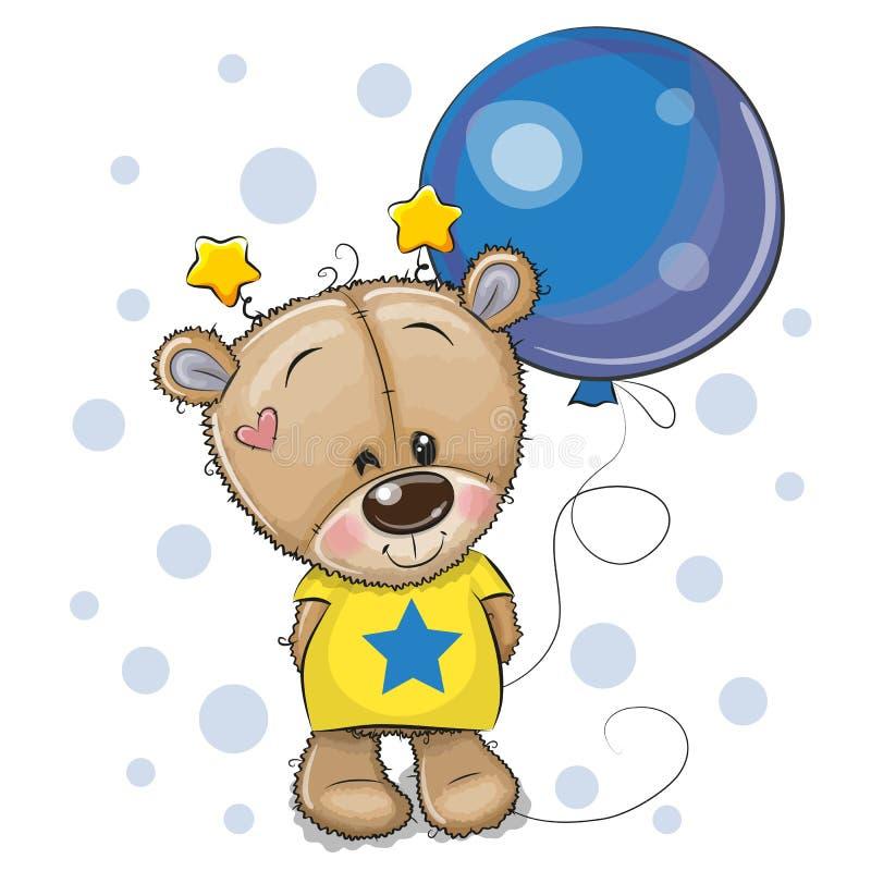 Τα χαριτωμένα κινούμενα σχέδια Teddy αντέχουν με το μπαλόνι διανυσματική απεικόνιση