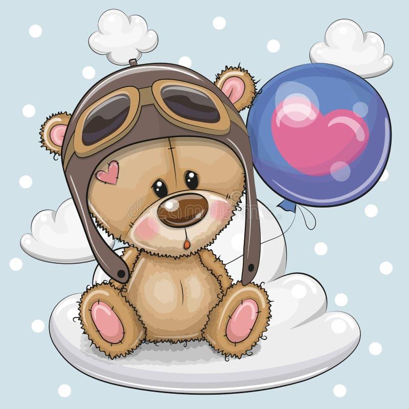 Τα χαριτωμένα κινούμενα σχέδια Teddy αντέχουν το αγόρι με το μπαλόνι ελεύθερη απεικόνιση δικαιώματος