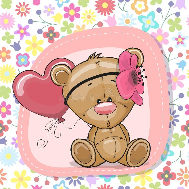 Τα χαριτωμένα κινούμενα σχέδια Teddy αντέχουν το κορίτσι με το μπαλόνι διανυσματική απεικόνιση