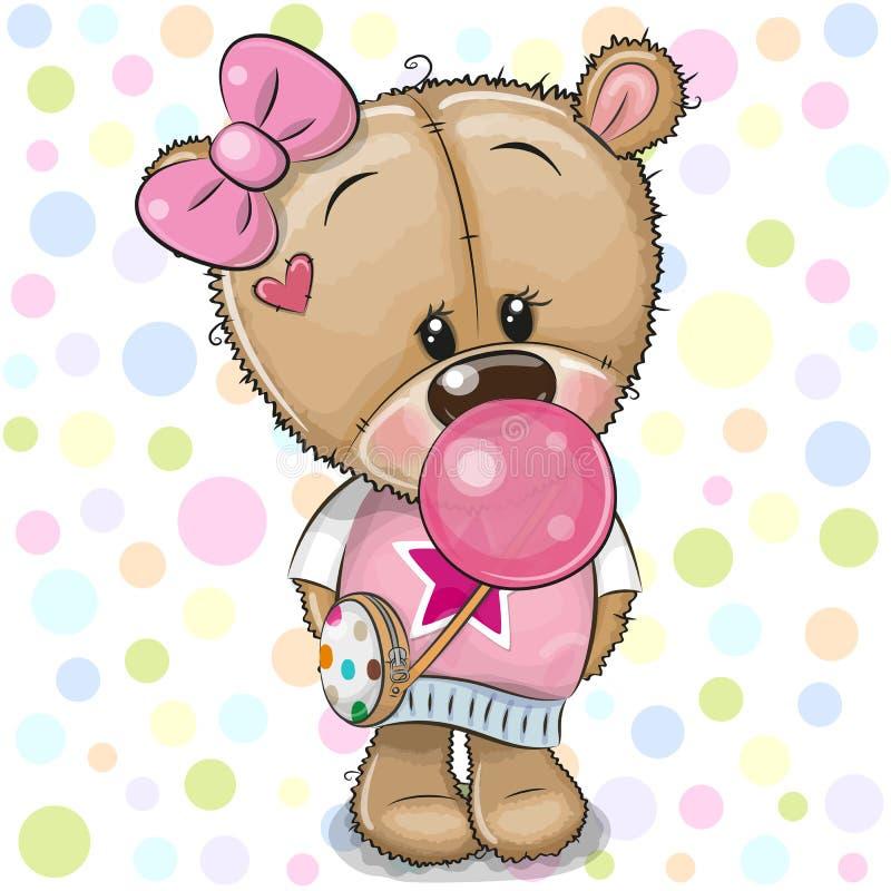 Τα χαριτωμένα κινούμενα σχέδια Teddy αντέχουν το κορίτσι με τη γόμμα φυσαλίδων διανυσματική απεικόνιση