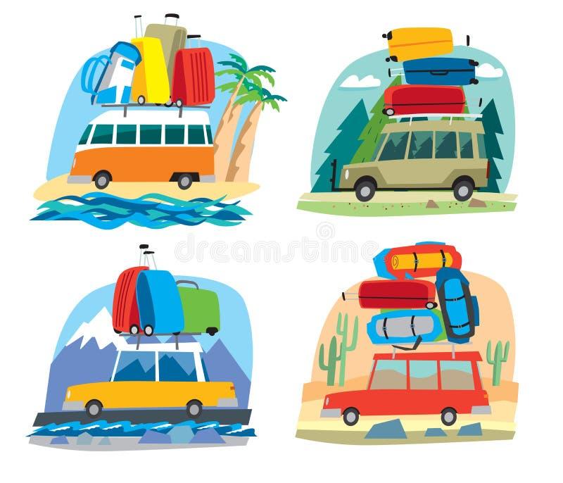 Τα χαριτωμένα μικρά αυτοκίνητα φέρνουν μια δέσμη των σακιδίων πλάτης και των τσαντών ταξιδιού ελεύθερη απεικόνιση δικαιώματος