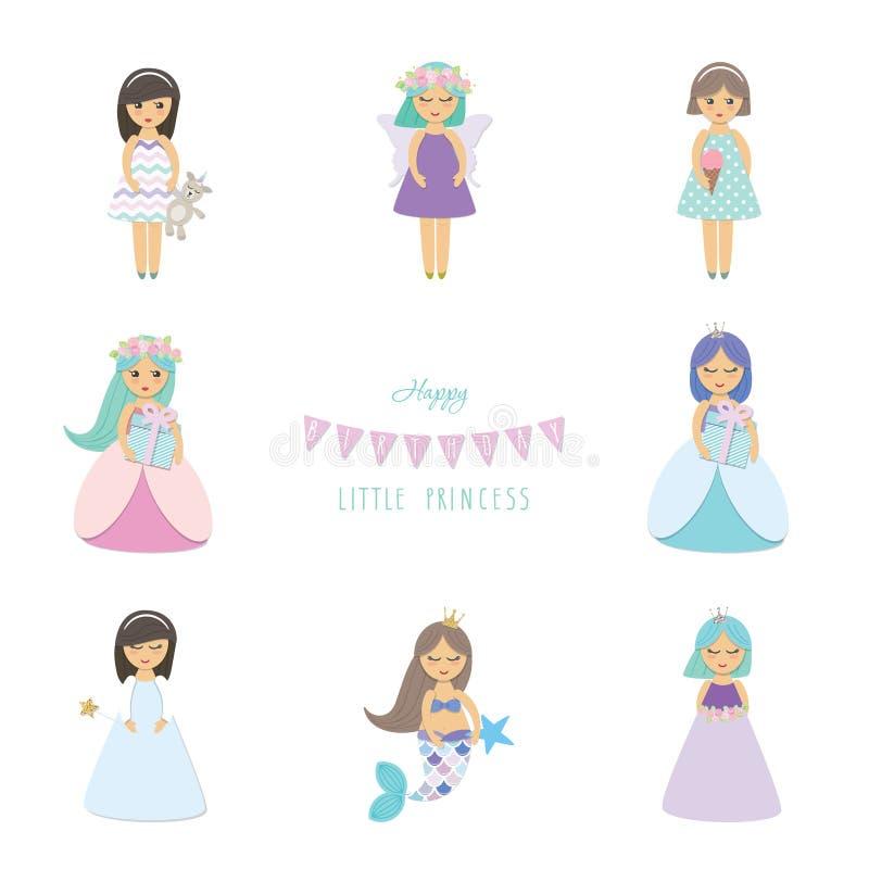 Τα χαριτωμένα μικρά κορίτσια, πριγκήπισσα, γοργόνα, άγγελος, χαρακτήρες κινουμένων σχεδίων νεράιδων θέτουν απομονωμένος στο λευκό διανυσματική απεικόνιση