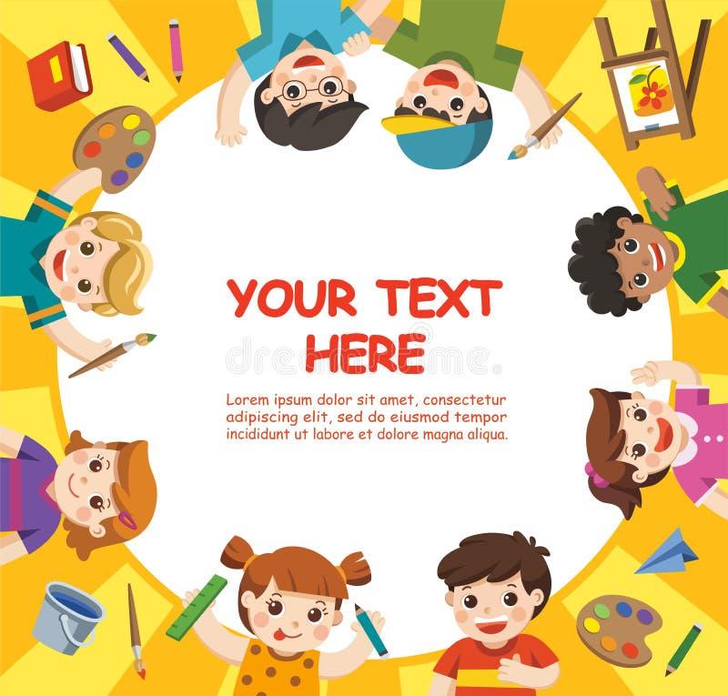 Τα χαριτωμένα παιδιά έχουν τη διασκέδαση και έτοιμος να πάρουν να χρωματίσουν από κοινού ελεύθερη απεικόνιση δικαιώματος