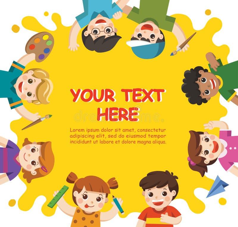 Τα χαριτωμένα παιδιά έχουν τη διασκέδαση και έτοιμος να πάρουν να χρωματίσουν από κοινού διανυσματική απεικόνιση