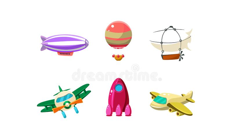 Τα χαριτωμένα φωτεινά χρώματα αεροσκαφών κινούμενων σχεδίων θέτουν, πηδαλιουχούμενο εύκαμπτο αερόστατο, biplane, πύραυλος, διανυσ απεικόνιση αποθεμάτων